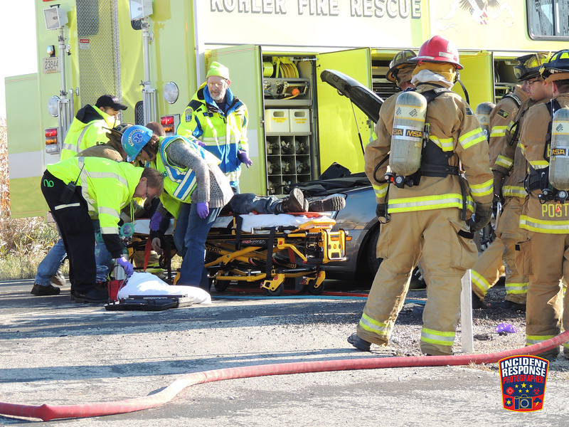 Two-vehicle crash with injuries at County Road A & County Road EE in the Town of Wilson, Wisconsin on Saturday, November 1, 2014. Photo by Asher Heimermann/Incident Response.