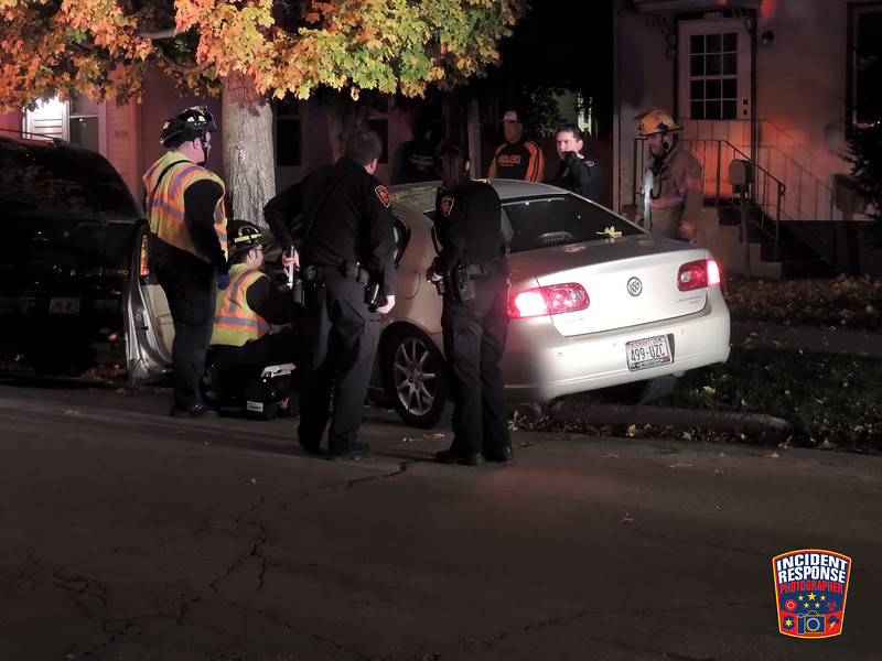 Single vehicle crash involving a tree in the 1600 block of Spruce Court in Sheboygan, Wisconsin on Sunday, November 9, 2014. Photo by Asher Heimermann/Incident Response.