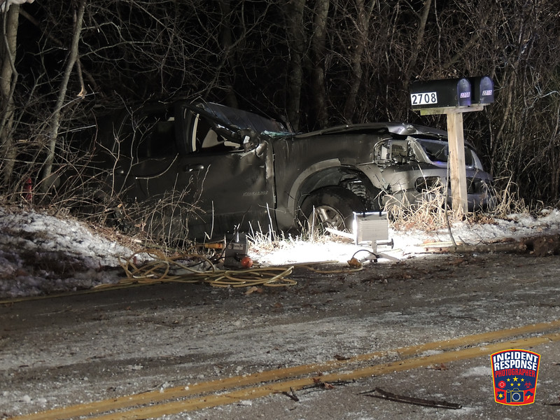A 27-year-old woman was killed in a single vehicle crash in the 2700 block of Mill Road in Sheboygan, Wisconsin on Monday, December 1, 2014. Photo by Asher Heimermann/Incident Response.