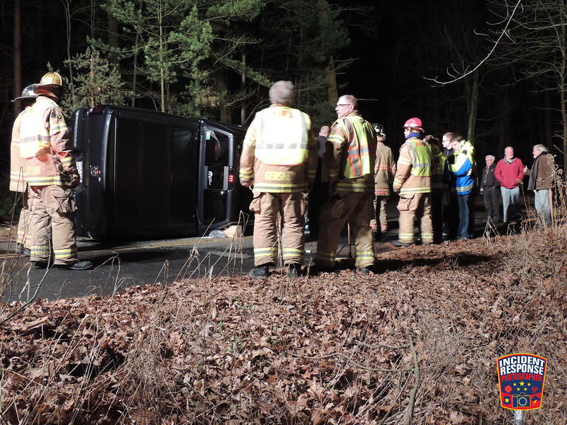 Single vehicle rollover accident in the 300 block of Timberlake Road in the Town of Wilson, Wisconsin on Saturday, December 13, 2014. Photo by Asher Heimermann/Incident Response.