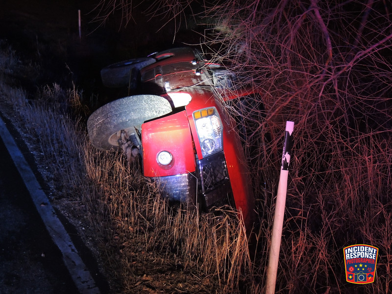 Single vehicle rollover accident in the 3700 block of Playbird Road in the Town of Sheboygan, Wisconsin on Sunday, December 14, 2014. Photo by Asher Heimermann/Incident Response.