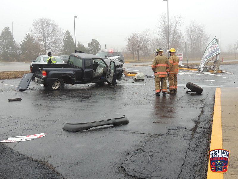One person was injured in two-vehicle crash on South Business Drive in Sheboygan, Wisconsin on Monday, December 15, 2014. Photo by Asher Heimermann/Incident Response.