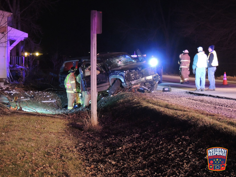 A vehicle crashed into a porch at W3845 County Road C in the Town of Sheboygan Falls, Wisconsin on Friday, December 20, 2014. Photo by Asher Heimermann/Incident Response.