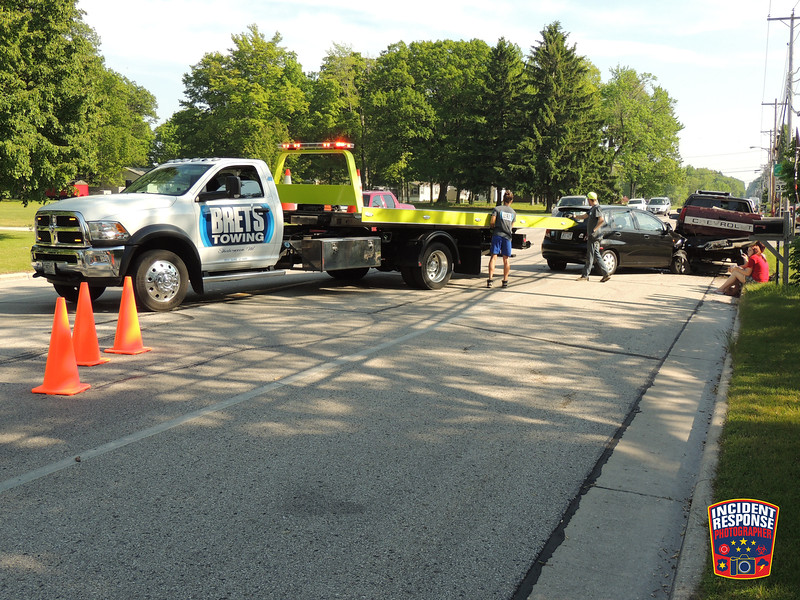 Three-vehicle crash involving parked vehicles in the 4400 block of South 12th Street in the Town of Wilson, Wisconsin on Wednesday, June 10, 2015. Photo by Asher Heimermann/Incident Response.