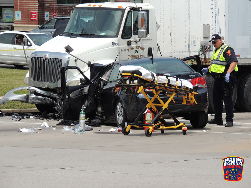 19-year-old Haley Haen was killed when her car crashed into a semi at South Business Drive & Washington Avenue in Sheboygan, Wisconsin on Saturday, July 11, 2021. Photo by Asher Heimermann/Incident Response.