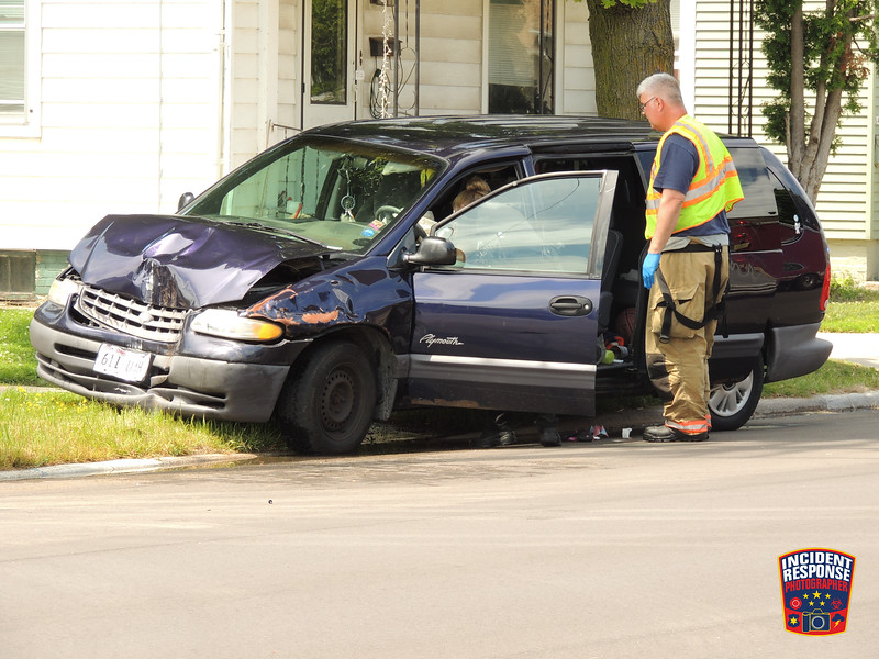 An alleged drunk driver was injured after crashing into a power pole in the 1400 block of South 8th Street in Sheboygan, Wisconsin on Monday, July 13, 2015. Photo by Asher Heimermann/Incident Response.