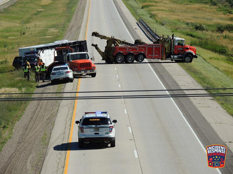 A camper rolled over on Interstate 43 south of County Road D in Belgium, Wisconsin on Wednesday, July 29, 2015. Photo by Asher Heimermann/Incident Response.