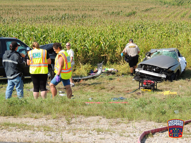 Two people were killed and another was seriously injured in a two vehicle rollover crash at County Road A & County Road C in the Town of Rhine, Wisconsin on Saturday, September 5, 2015. Photo by Asher Heimermann/Incident Response.