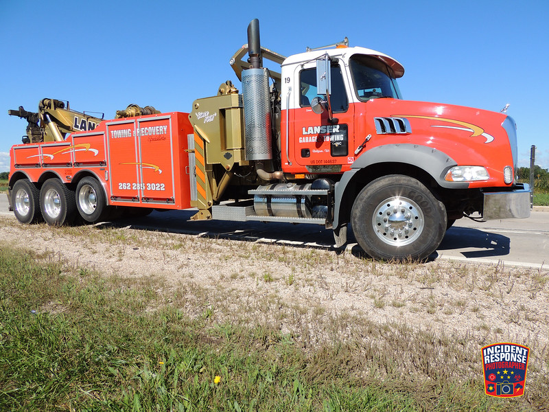 Two people were injured after a pick-up truck and semi collided at County Road V & Interstate 43 in the Town of Wilson, Wisconsin on Saturday, September 12, 2015. Photo by Asher Heimermann/Incident Response.