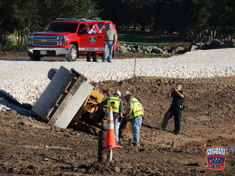 A construction worker was taken to the hospital after an accident involving a paver roller at Acuity Insurance on South Taylor Drive in Sheboygan, Wisconsin on Monday, September 14, 2015. Photo by Asher Heimermann/Incident Response.