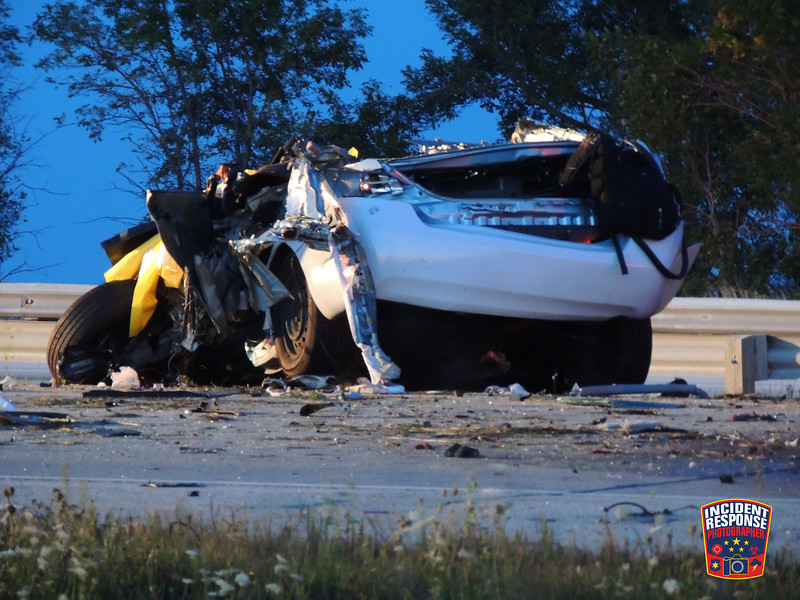A person was killed in a fiery crash involving a semi on Interstate 43 near Pebble Beach Road in the Town of Belgium, Wisconsin on Tuesday, September 15, 2015. Photo by Asher Heimermann/Incident Response.