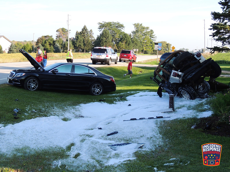 Two-vehicle crash at Highway 32 & County Road J in Town of Sheboygan Falls, Wisconsin on Thursday, September 17, 2015. Photo by Asher Heimermann/Incident Response.