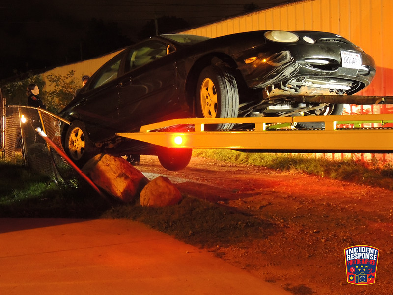 Single vehicle crash involving rocks in the 1400 block of South 8th Street in Sheboygan, Wisconsin on Monday, October 5, 2015. Photo by Asher Heimermann/Incident Response.