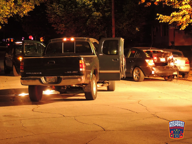 A person being sought by Sheboygan Police allegedly crashed into a parked vehicle in the 1300 block of North 16th Street in Sheboygan, Wisconsin on Thursday, October 22, 2015. Photo by Asher Heimermann/Incident Response.
