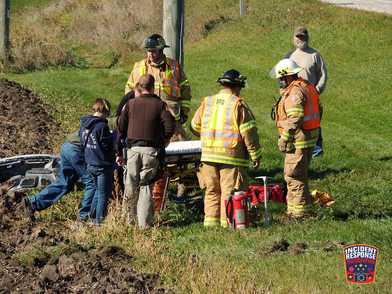 Single vehicle rollover accident with injuries on County Road C east of Hillside Road in the Town of Sheboygan Falls, Wisconsin on Sunday October 25, 2015. Photo by Asher Heimermann/Incident Response.