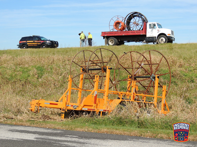 A trailer became unhitched from a construction vehicle on Highway 23 west of Meadowlark Road in the Town of Sheboygan Falls, Wisconsin on Tuesday, October 27, 2015. Photo by Asher Heimermann/Incident Response.