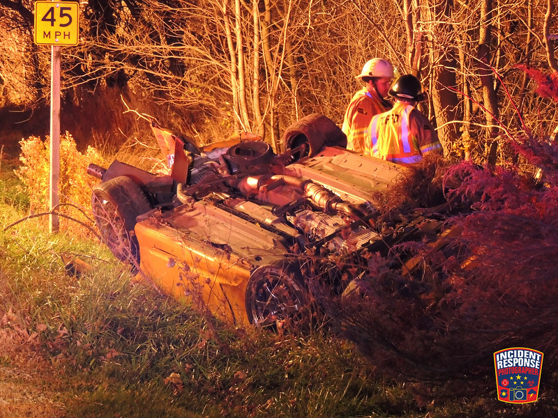 Single vehicle rollover crash on Highway 32 south of Ourtown Road in the Town of Lima, Wisconsin on Monday, November 2, 2015. Photo by Asher Heimermann/Incident Response.