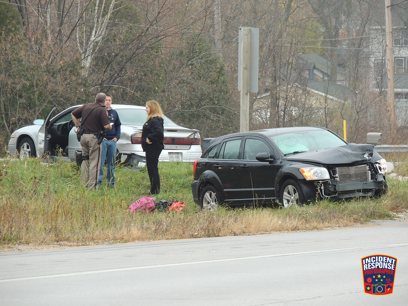 Two-vehicle crash at Highway 57 & County Road V in Waldo, Wisconsin on Wednesday, November 4, 2015. Photo by Asher Heimermann/Incident Response.