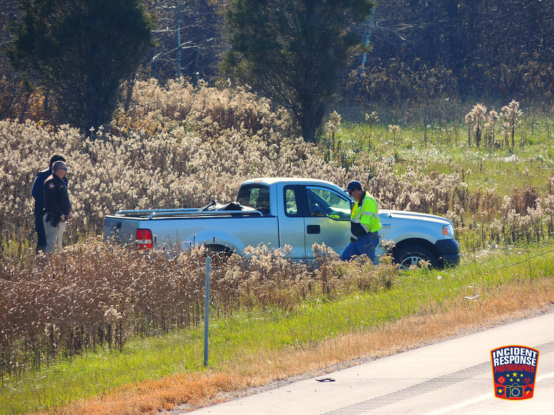 Single vehicle rollover on northbound Interstate 43 north of Center Avenue in Oostburg, Wisconsin on Sunday, November 8, 2015. Photo by Asher Heimermann/Incident Response.