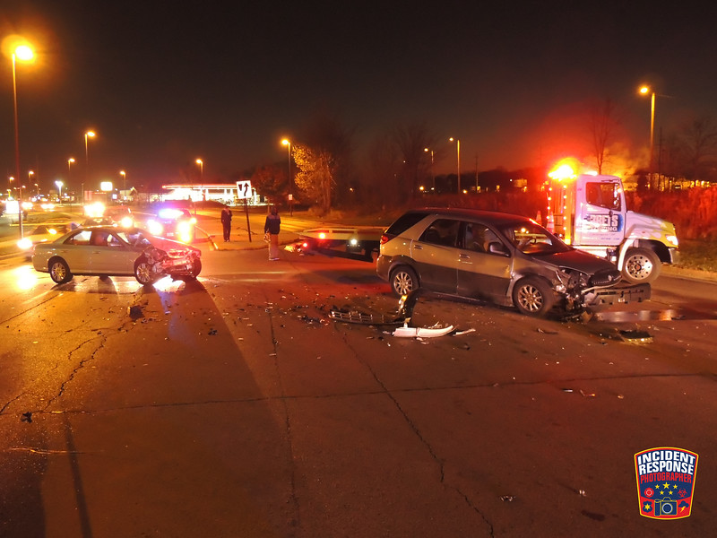 Two-vehicle crash at South Business Drive & Mead Avenue in Sheboygan, Wisconsin on Tuesday, November 10, 2015. Photo by Asher Heimermann/Incident Response.