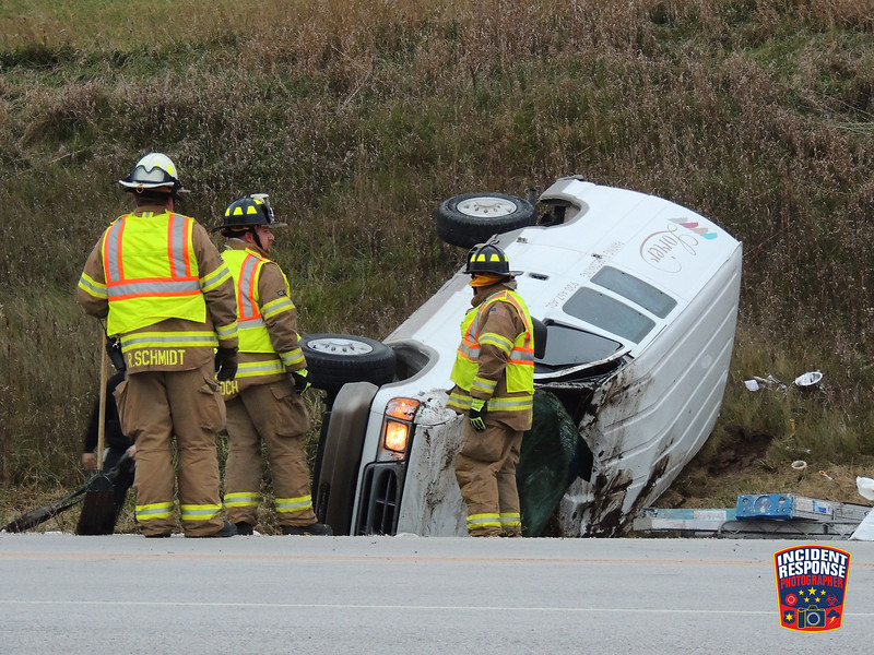 Two-vehicle rollover crash at Highway 57 & County Road Eh in the Town of Rhine, Wisconsin on Thursday, November 12, 2015. Photo by Asher Heimermann/Incident Response.