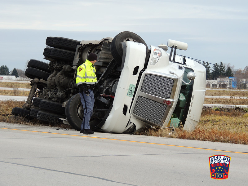 A semi rolled over on the ramp to southbound Interstate 43 from Highway 23 in Sheboygan, Wisconsin on Tuesday, November 17, 2015. Photo by Asher Heimermann/Incident Response.