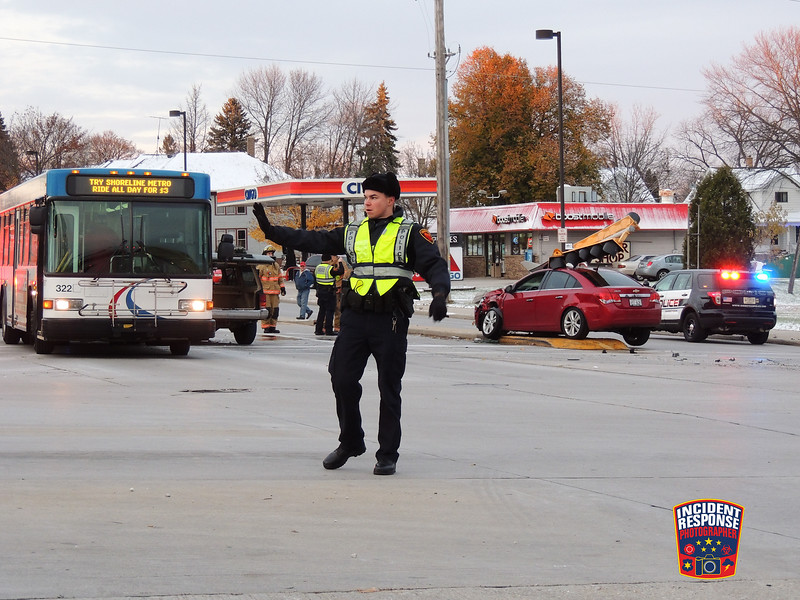 Multi-vehicle injury crash at South 14th Street & Indiana Avenue in Sheboygan, Wisconsin on Saturday, November 21, 2015. Photo by Asher Heimermann/Incident Response.