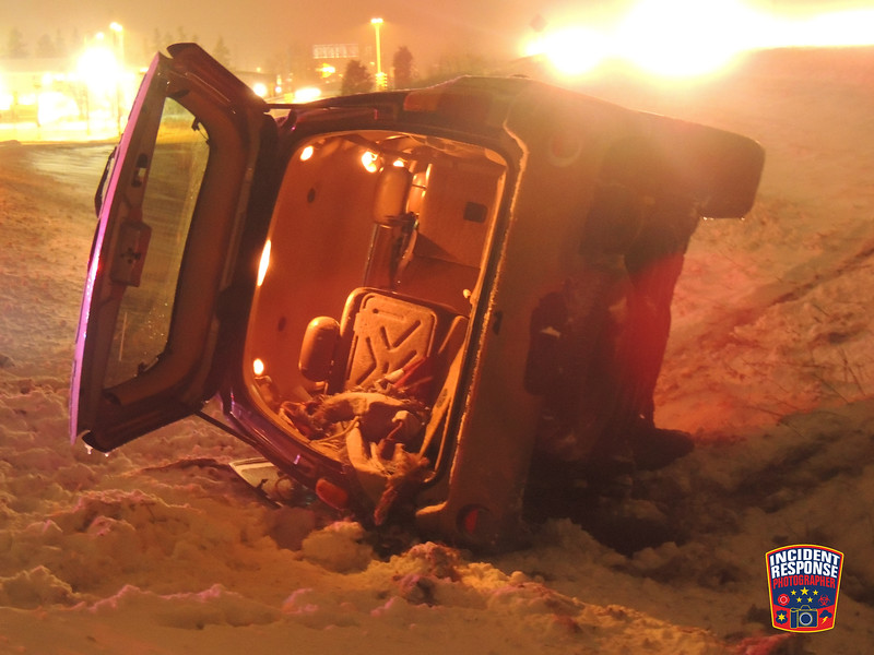 Single vehicle rollover on northbound Interstate 43 north of Highway 28 in Sheboygan, Wisconsin on Saturday, January 9, 2016. Photo by Asher Heimermann/Incident Response.