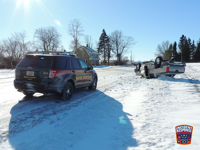 Single vehicle rollover crash in the 5300 block of South Business Drive in the Town of Wilson, Wisconsin on Sunday, January 10, 2016. Photo by Asher Heimermann/Incident Response.