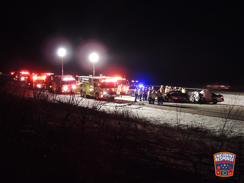 Two people were killed in a wrong-way crash on southbound Interstate 43 near Mile Marker 115 in the Town of Holland, Wisconsin on Wednesday, January 20, 2016. Photo by Asher Heimermann/Incident Response.