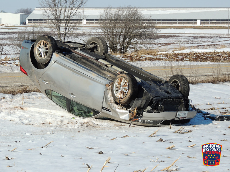 Single vehicle crash on County Road I west of Camp Riverside Road in the Town of Lima, Wisconsin on Monday, February 1, 2016. Photo by Asher Heimermann/Incident Response.