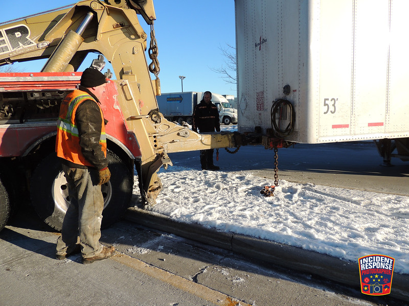 A semi mishap occurred on Highway 42 north of County Road J in the Town of Sheboygan, Wisconsin on Thursday, February 11, 2016. Photo by Asher Heimermann/Incident Response.