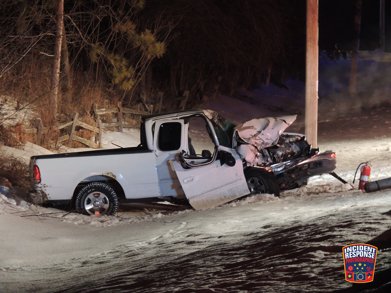 A two-vehicle crash on Lakeshore Road south of Pine Bluff Road in Sheboygan, Wisconsin on Wednesday, February 17, 2016. Photo by Asher Heimermann/Incident Response.