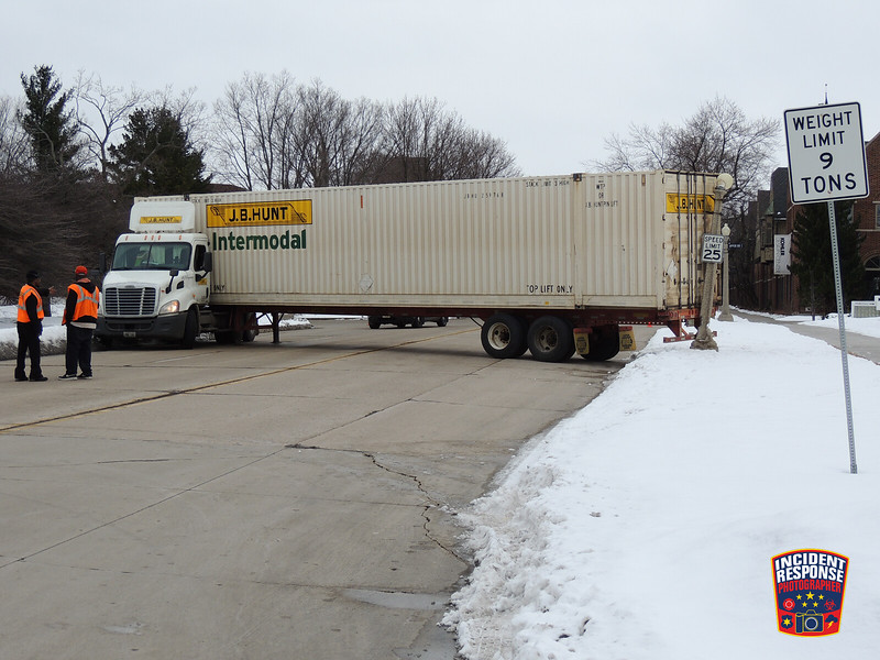 A semi jackknifed on Highland Drive at Upper Road while attempting a U-turn in Kohler, Wisconsin on Thursday, February 18, 2016. Photo by Asher Heimermann/Incident Response.