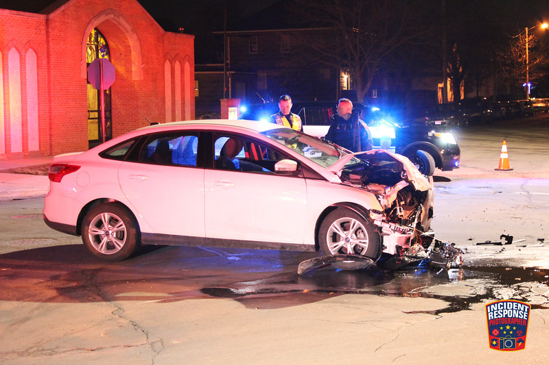 An alleged drunk driver was arrested after he crashed into a police car at South 11th Street & Broadway Avenue in Sheboygan, Wisconsin on Wednesday, February 24, 2016. Photo by Asher Heimermann/Incident Response.