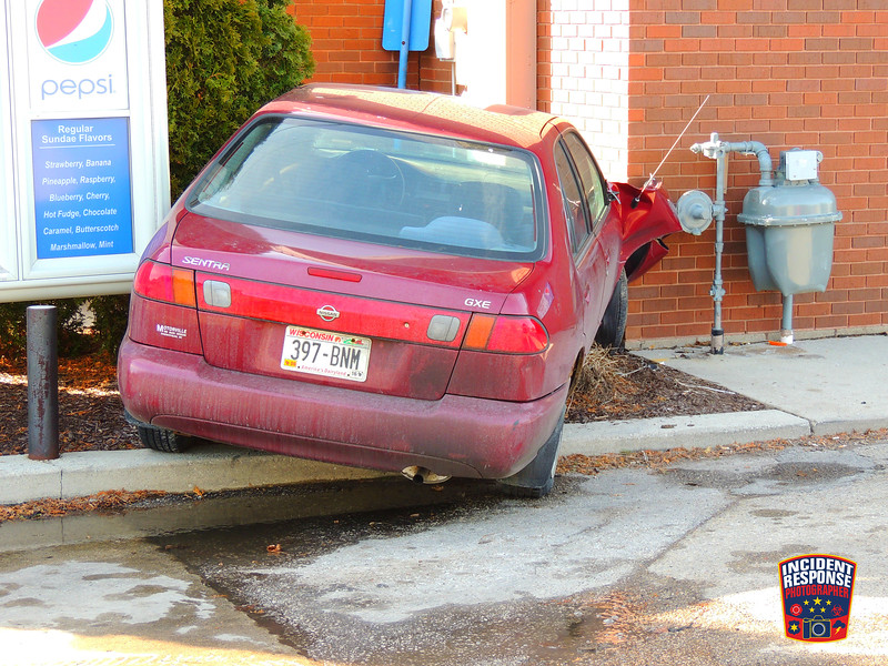 A car struck the building of Randall's restaurant in the Town of Sheboygan, Wisconsin on Saturday, February 27, 2016. Photo by Asher Heimermann/Incident Response.