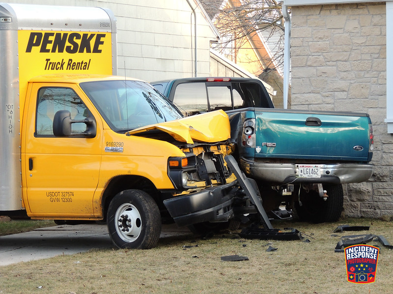 An alleged drunk driver was arrested after a crash involving a pick-up truck and Penske rental truck at 1833 Geele Avenue in Sheboygan, Wisconsin on Saturday, February 27, 2016. Photo by Asher Heimermann/Incident Response.