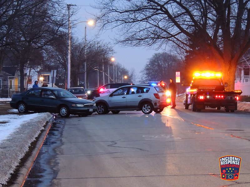 Two-vehicle crash in the 2200 block of Lakeshore Drive in Sheboygan, Wisconsin on Sunday, March 6, 2016. Photo by Asher Heimermann/Incident Response.