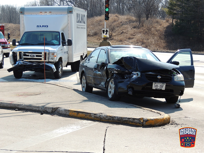Two-vehicle crash with injuries in the 600 block of South Taylor Drive in Sheboygan, Wisconsin on Monday, March 7, 2016. Photo by Asher Heimermann/Incident Response.