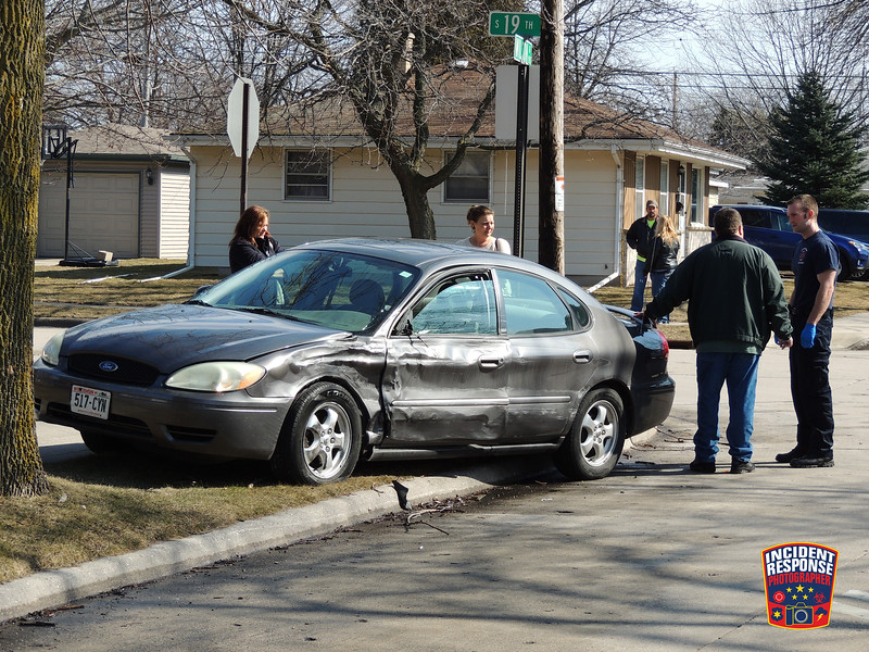 Two-vehicle crash with injuries at South 19th Street & Wilson Avenue in Sheboygan, Wisconsin on Tuesday, March 8, 2016. Photo by Asher Heimermann/Incident Response.