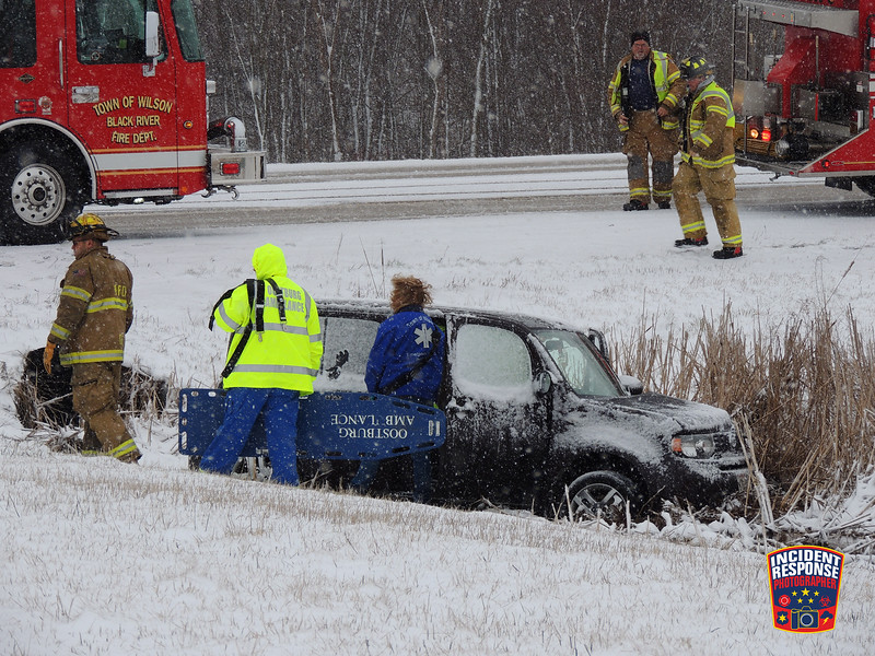 Two-vehicle crash with injuries at County Road V & Frontage Road in the Town of Wilson, Wisconsin on Friday, April 8, 2016. Photo by Asher Heimermann/Incident Response.