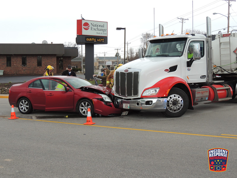 A car collided with a semi hauling gasoline at North Wisconsin Drive & Madison Avenue in Howards Grove, Wisconsin on Tuesday, April 19, 2016. Photo by Asher Heimermann/Incident Response.