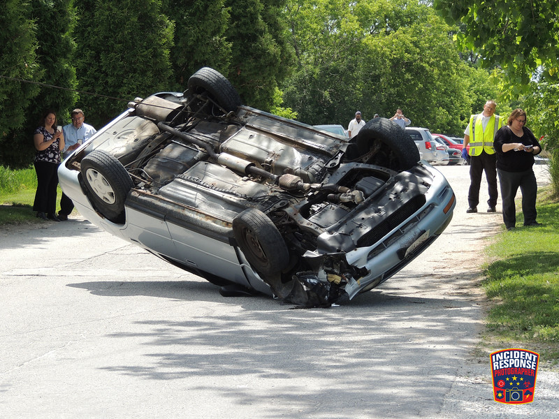 Single vehicle rollover accident outside Eck Industries, 1602 North 8th Street in Manitowoc, Wisconsin on Wednesday, June 22, 2016. Photo by Asher Heimermann/Incident Response.