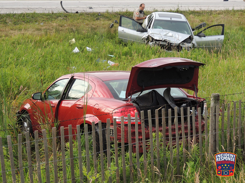 Two-vehicle crash with injures on Interstate 43 south of County Road V in the Town of Wilson, Wisconsin on Thursday, July 7, 2016. Photo by Asher Heimermann/Incident Response.