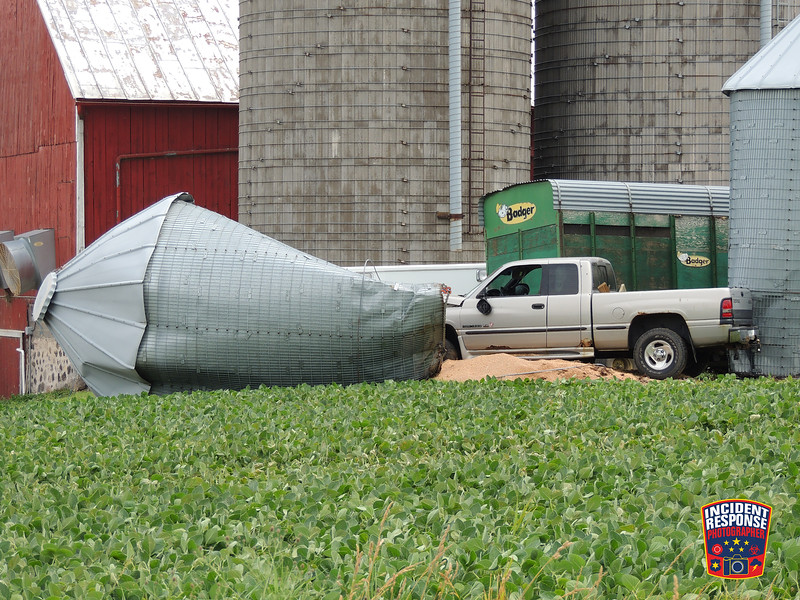 A pick-up truck crashed into a silo at N6325 Highway 67 in the Town of Plymouth, Wisconsin on Thursday, July 7, 2016. Photo by Asher Heimermann/Incident Response.