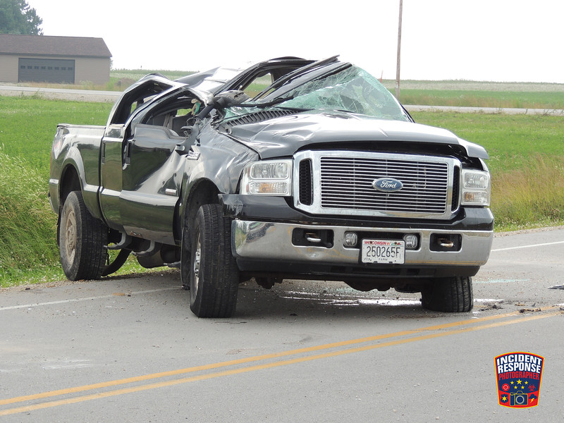 A teenage driver was uninjured after a single vehicle rollover on County Road LS at Summer Court in the Town of Mosel, Wisconsin on Tuesday, July 12, 2016. Photo by Asher Heimermann/Incident Response.