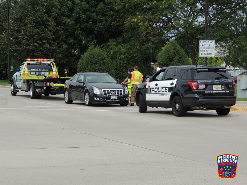 Three-vehicle crash on Kohler Memorial Drive at North 25th Street in Sheboygan, Wisconsin on Thursday, July 28, 2016. Photo by Asher Heimermann/Incident Response.