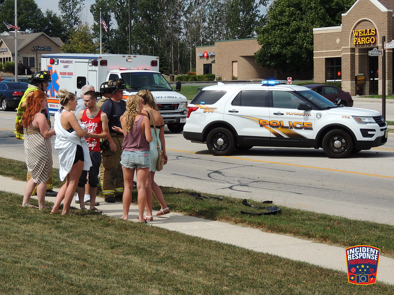 Six people were injured in a two-vehicle crash in front of the McDonald's restaurant in the 2100 block of Eastern Avenue in Plymouth, Wisconsin on Monday, September 5, 2016. Photo by Asher Heimermann/Incident Response.