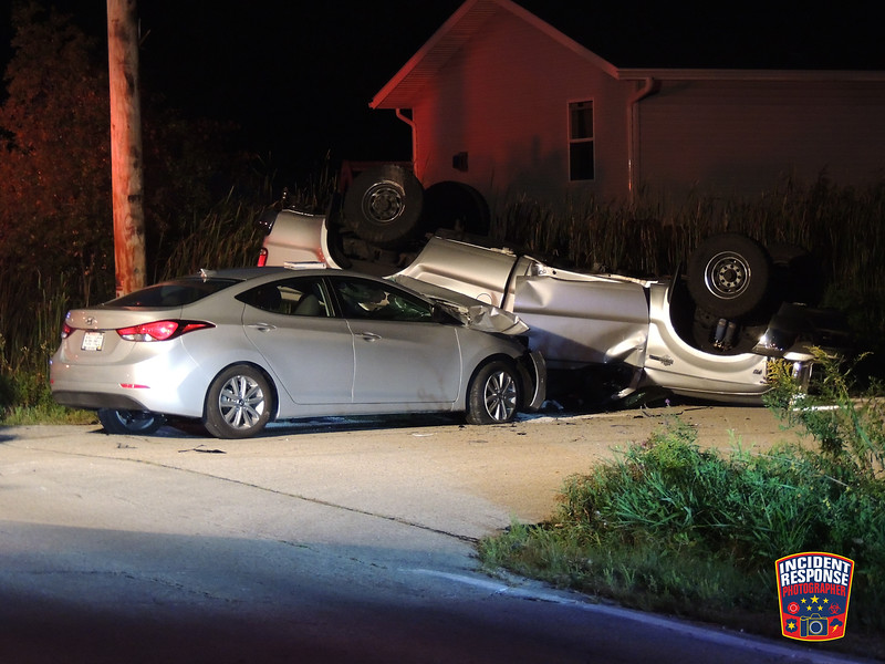 A suspected drunk driver was arrested after a two-vehicle rollover crash at South 15th Street & Weeden Creek Road in Sheboygan, Wisconsin on Monday, September 5, 2016. Photo by Asher Heimermann/Incident Response.