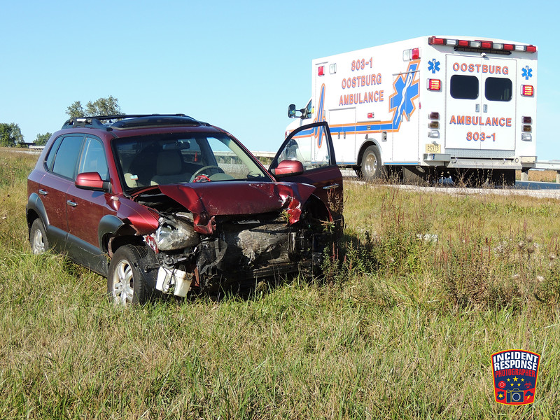 A vehicle crashed into a guardrail resulting in injuries on Interstate 43 at Wilson-Lima Road in Sheboygan, Wisconsin on Wednesday, September 28, 2016. Photo by Asher Heimermann/Incident Response.